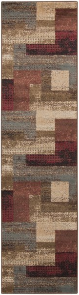 Surya Riley Dark Red Brown Camel Polypropylene Abstract Runner - 86x36 RLY5004-38