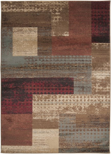 Surya Riley Dark Red Brown Camel Polypropylene Abstract Area Rug - 90x63 RLY5004-5376