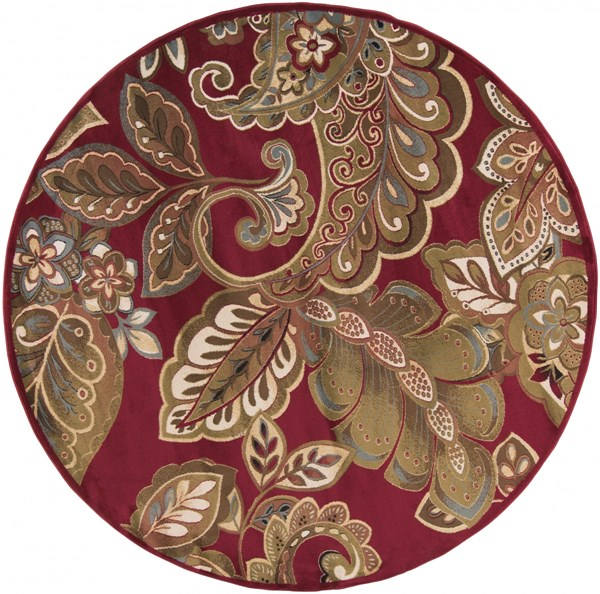 Surya Riley Dark Red Brown Camel Polypropylene Round Area Rug - 96x96 RLY5020-8RD