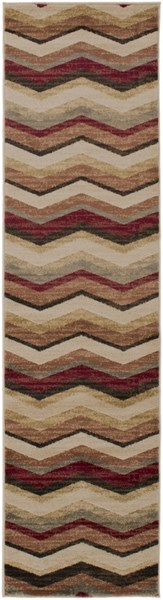 Surya Riley Burgundy Dark Brown Camel Polypropylene Runner - 89x24 RLY5064-275