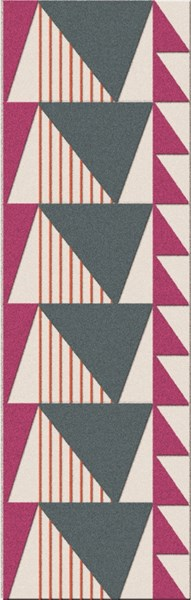 Renata Magenta Tangerine Light Gray Fabric Area Rug (L 96 X W 30) RNA1001-268