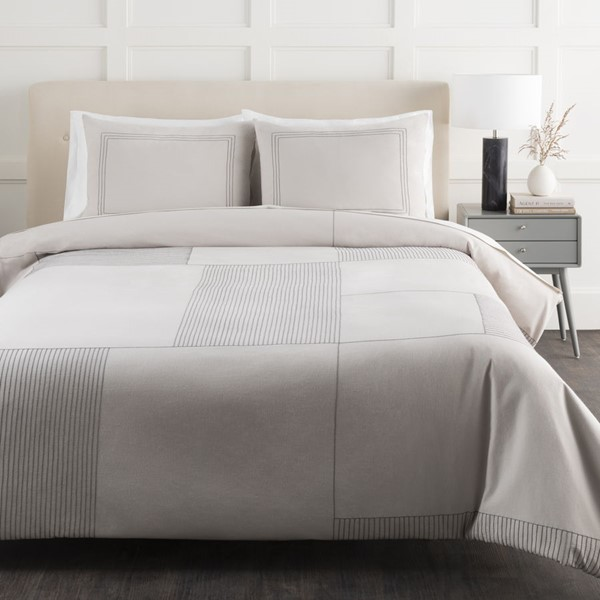 Surya Rhythm Light Gray King CA Duvet Set RTM1000-KSET