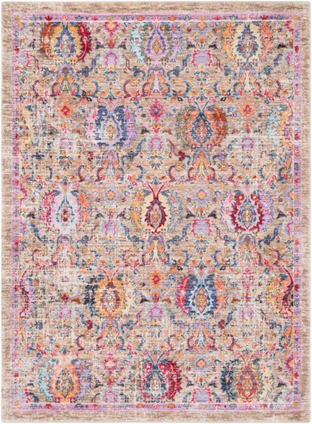 Surya Rumi Bright Purple Dark Red Blue Polyester Area Rug - 87x63 RUM2300-5373