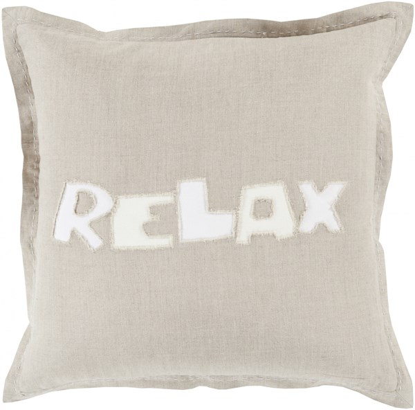 Relax Light Gray Ivory Fabric Down Throw Pillow (L 22 X W 22 X H 5) RX002-2222D