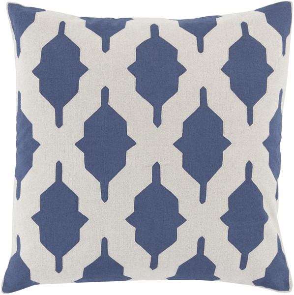 Salma Navy Beige Fabric Geometric Throw Pillow (L 20 X W 20 X H 5) SA003-2020P