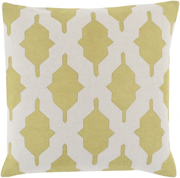 Salma Lime Beige Fabric Geometric Throw Pillow (L 20 X W 20 X H 5) SA006-2020P