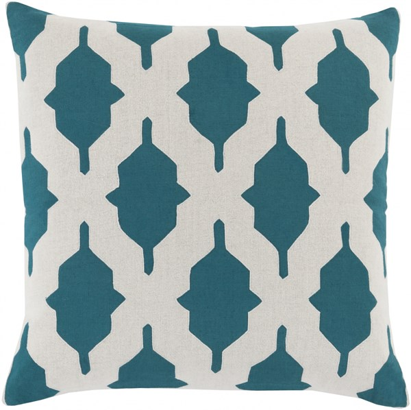 Salma Teal Beige Fabric Square Throw Pillow (L 20 X W 20 X H 5) SA007-2020P