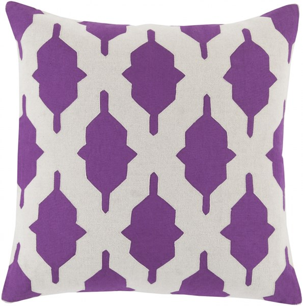 Salma Violet Beige Fabric Geometric Throw Pillow (L 22 X W 22 X H 5) SA008-2222D