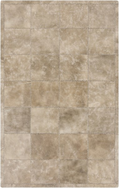 Saddle Modern Taupe Light Gray Leather Area Rug SAD6000-576