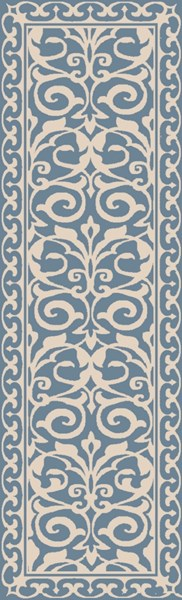 Samual Contemporary Teal Beige Polyester Area Rug (L 96 X W 30) SAU1102-268