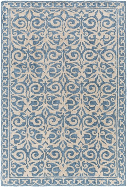 Samual Contemporary Teal Beige Polyester Area Rug (L 90 X W 60) SAU1102-576
