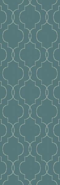 Seabrook Contemporary Teal Beige Fabric Runner (L 96 X W 30) SBK9012-268