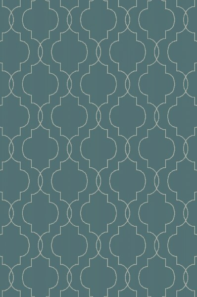 Seabrook Contemporary Teal Beige Fabric Area Rug (L 90 X W 60) SBK9012-576