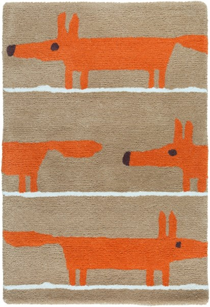 Scion Modern Rust Mocha Ivory Fabric Kids Rugs 1983-VAR1