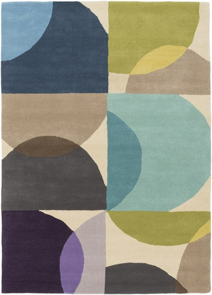 Scion Modern Moss Teal Lime Fabric Area Rug (L 96 X W 60) SCI27-58
