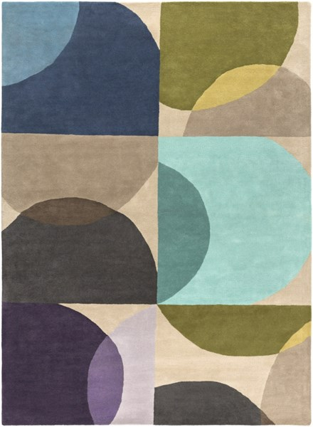 Scion Modern Moss Teal Lime Fabric Area Rug (L 132 X W 96) SCI27-811