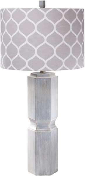 Sandy Washed Gray Resin Screenprinted Fabric Table Lamp - 16x33 SDLP-001