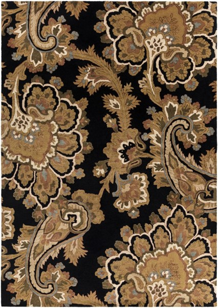 Sea Black Gold Olive Taupe Peach New Zealand Wool Area Rug - 96 x 132 SEA171-811
