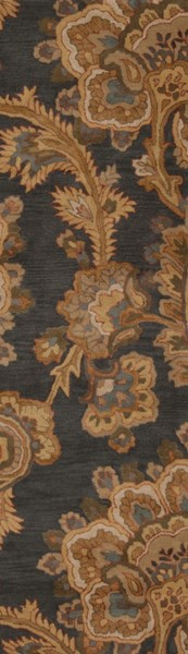 Sea Charcoal Gold Olive Taupe Peach New Zealand Wool Runner - 30 x 96 SEA172-268