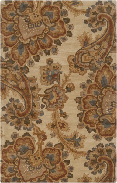 Sea Ivory Gold Olive Mocha Rust New Zealand Wool Area Rug - 60 x 96 SEA173-58