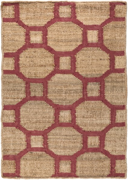 Seaport Contemporary Mocha Magenta Fabric Area Rug (L 36 X W 24) SET3005-23