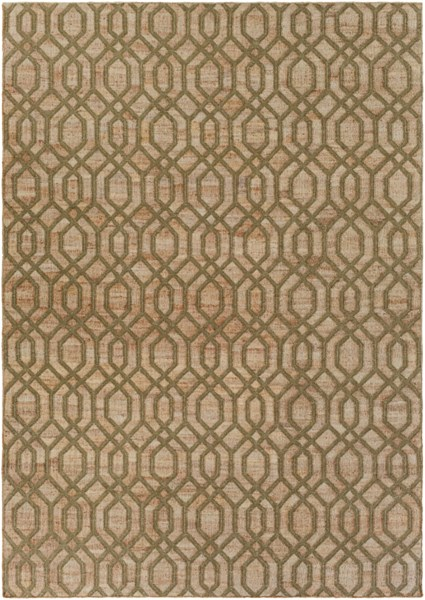 Seaport Contemporary Olive Mocha Fabric Area Rug (L 132 X W 96) SET3014-811
