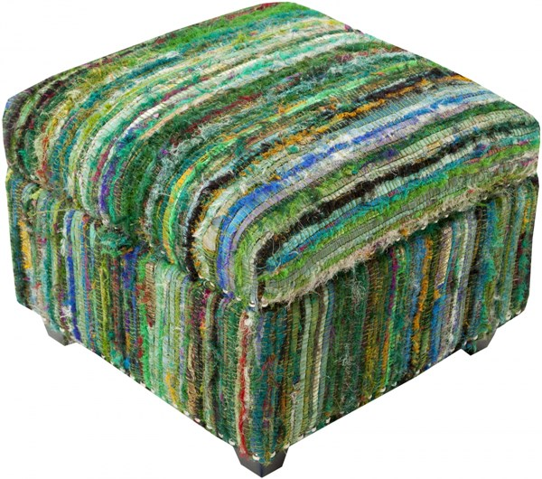 Saturday Night Contemporary Teal Lime Sunflower Wood Fabric Ottoman SFL-3002