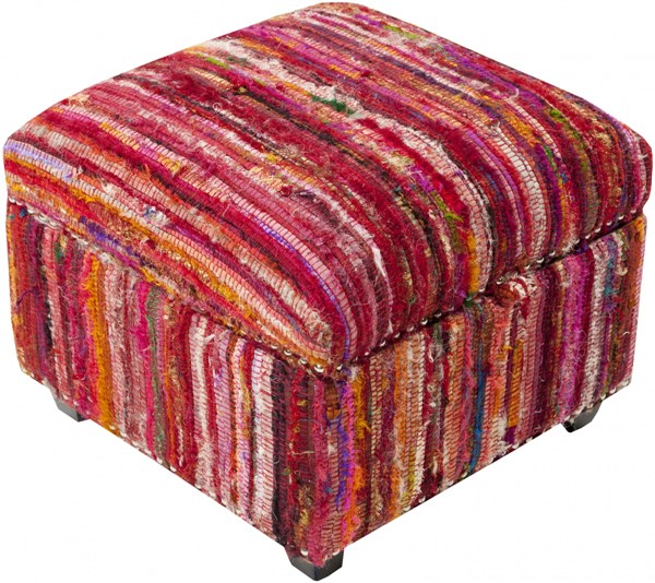 Saturday Night Contemporary Magenta Pink Carnation Wood Fabric Ottoman SFL-3004