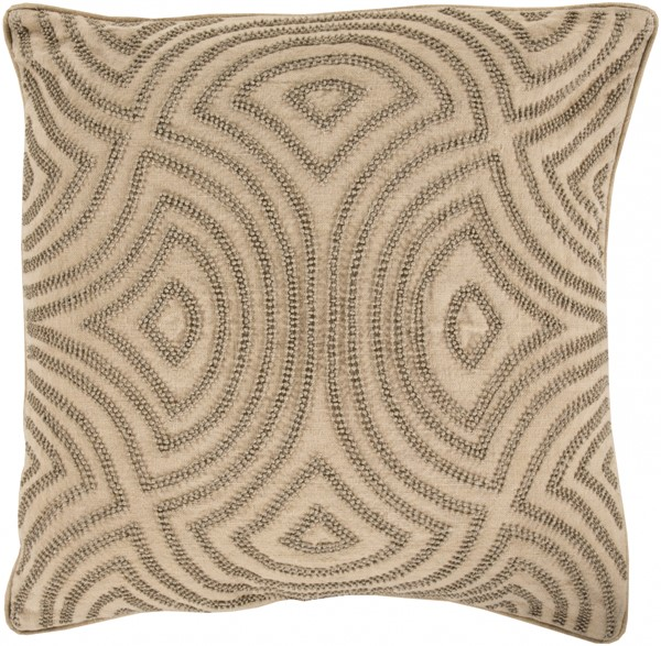 Skinny Dip Beige Olive Fabric Square Throw Pillow (L 18 X W 18 X H 4) SKD002-1818D
