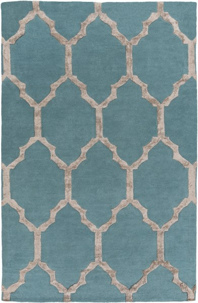 Skyline Contemporary Teal Olive Fabric Area Rug (L 90 X W 60) SKL2013-576