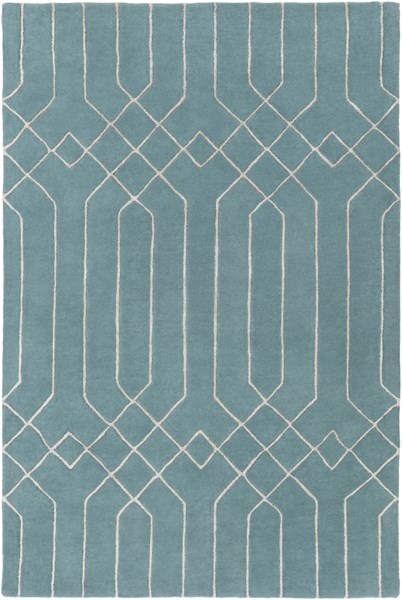 Skyline Teal Gray Fabric Geometric Area Rug (L 90 X W 60) SKL2018-576
