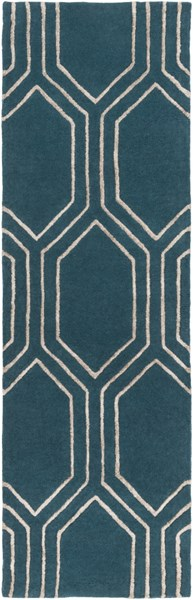 Skyline Contemporary Teal Taupe Fabric Runner (L 96 X W 30) SKL2021-268