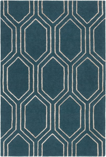 Skyline Contemporary Teal Taupe Fabric Area Rug (L 90 X W 60) SKL2021-576