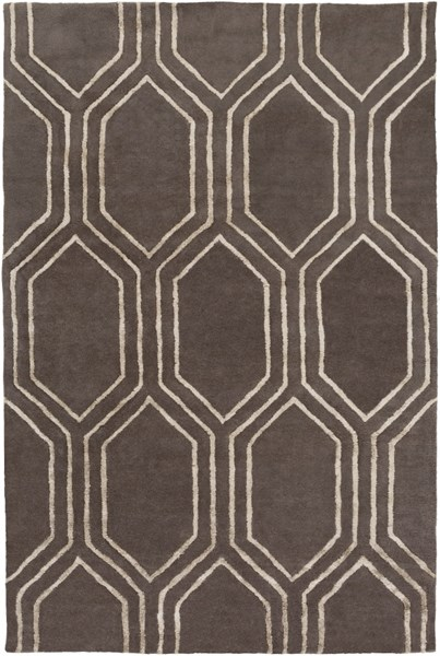 Skyline Contemporary Charcoal Taupe Fabric Area Rug (L 90 X W 60) SKL2023-576