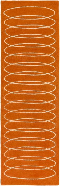 Solid Bold Contemporary Burnt Orange Ivory Fabric Runner (L 96 X W 30) SLB6800-268