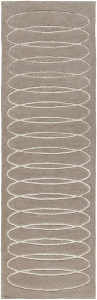 Solid Bold Contemporary Taupe Ivory Fabric Runner (L 96 X W 30) SLB6803-268