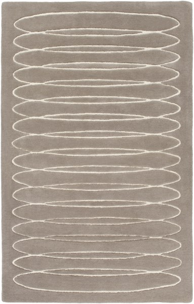 Solid Bold Contemporary Taupe Ivory Fabric Area Rug (L 90 X W 60) SLB6803-576