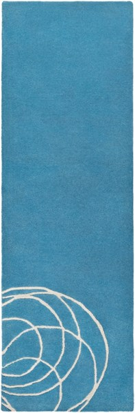 Solid Bold Modern Teal Ivory Fabric Runner (L 96 X W 30) SLB6806-268