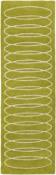 Solid Bold Contemporary Moss Ivory Fabric Runner (L 96 X W 30) SLB6818-268