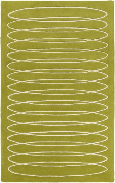 Solid Bold Contemporary Moss Ivory Fabric Area Rug (L 90 X W 60) SLB6818-576