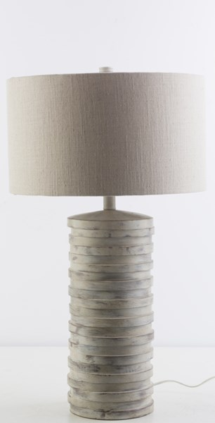 Sulak Contemporary White Wash Resin Polyester Fabric Table Lamp SLK405-TBL