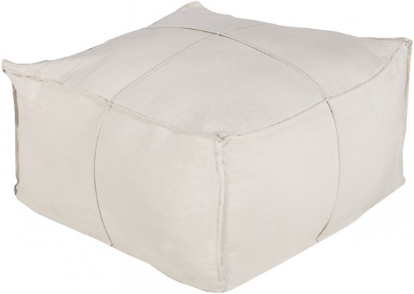 Solid Linen Contemporary Gold Fabric Cushion Pouf SLPH-001