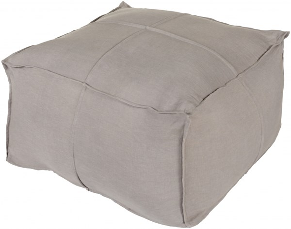 Solid Linen Contemporary Slate Fabric Pouf - 24x24x13 SLPH-004