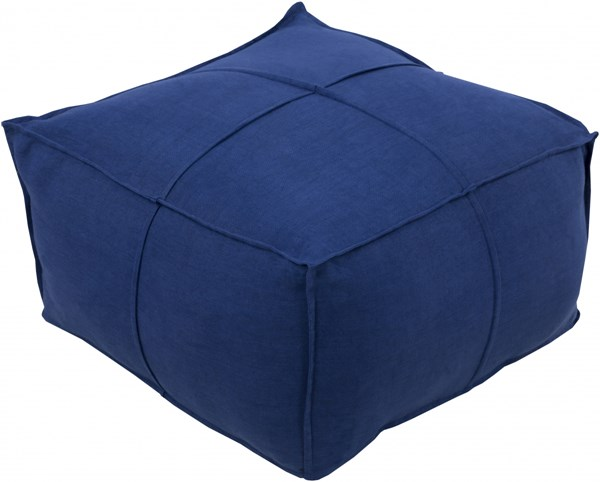 Solid Linen Contemporary Navy Fabric Pouf (L 24 X W 24 X H 13) SLPH007-242413