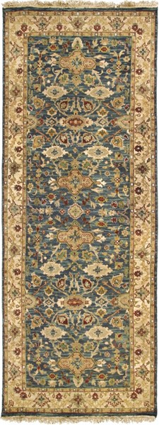 Soumek Traditional Charcoal Beige Moss Fabric Runner (L 120 X W 48) SMK51-410