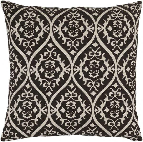 Somerset Gray Black Fabric Down Throw Pillow (L 22 X W 22 X H 5) SMS003-2222D