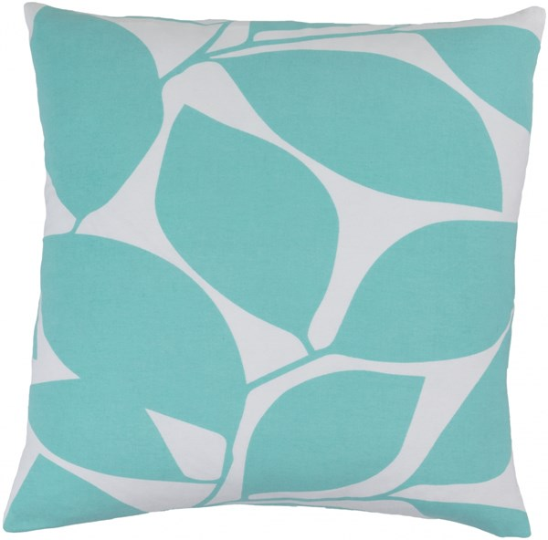 Somerset Aqua Light Gray Fabric Poly Throw Pillow (L 18 X W 18 X H 4) SMS008-1818P