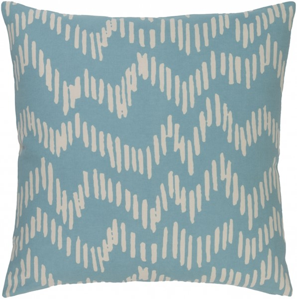 Somerset Teal Beige Fabric Square Throw Pillow (L 18 X W 18 X H 4) SMS011-1818P