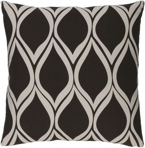 Somerset Gray Black Fabric Square Throw Pillow (L 18 X W 18 X H 4) SMS020-1818P