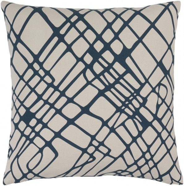 Somerset Navy Ivory Fabric Square Throw Pillow (L 20 X W 20 X H 5) SMS022-2020P